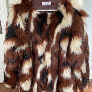 Elvi Plus Size Faux Fur Coat